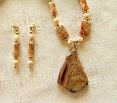 SOLD    Jasper Gemstone Pendant Beaded Necklace with by JewelrybyIshi, $45.00