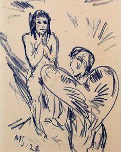 Max Schwimmer: Begegnung in den Dünen, 1920, Zeichnung, Graphit