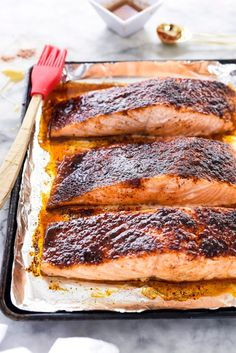 10-Minute Maple-Crusted Salmon by @foodiecrush. A spicy sweet rub tops salmon fillets that are broiled then drizzled with maple syrup to create a caramelized crust.