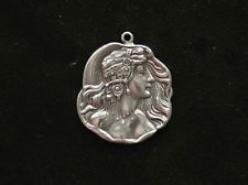 Sterling silver nude lady Little Egypt dancer bracelet pendant charm art nouveau