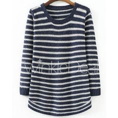 Simple Scoop Neck Striped Slimming Long Sleeve Sweater For Women
