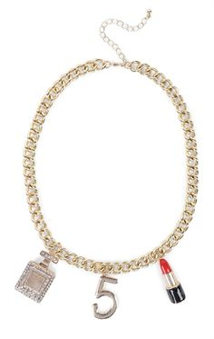 Deb Shops Short Chunky Chain Necklace with Perfume Bottle and Lipstick Pendants $7.50