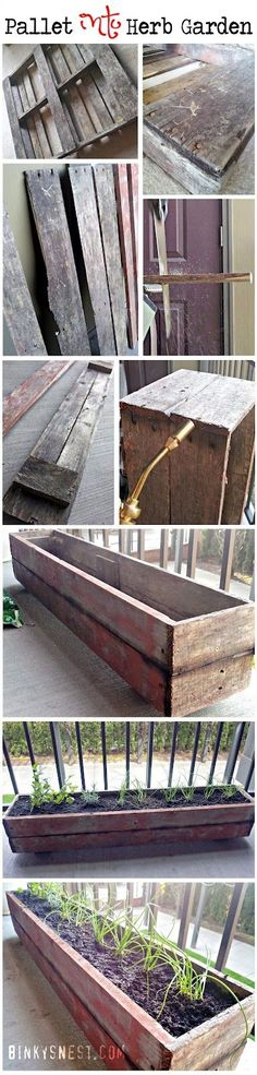 Old wood pallet made into a patio herb garden! DIY I think I'd like to do this and use it as a flower garden instead.