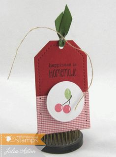 Create With Me: A gift tag made with stamps from Waltzingmouse and a tag die from Papertrey Ink