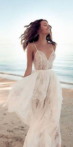 51 Beach Wedding Dresses Perfect For Destination Weddings ❤️ beach wedding dresses flowy lace spaghetti straps v neckline ruffled skirt ❤️ #destinationweddingplanner #beach #wedding
