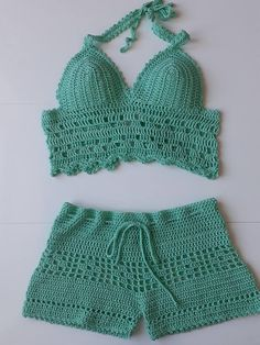 Crochet woman shorts and Top Turquoise Summer trends Bikini