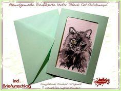 Schwarze Katze etwas Magie im Briefkasten... Einzelstück Grußkarte handgemalter Cat Content  - ein Designerstück von wandklex bei DaWandaPostkarte mal anders;  handgemalte Karten - geht übrigens auch nach Ihrem Foto :-) Alles zu haben im kleinen Klexshop auf DaWanda unter http://de.dawanda.com/shop/wandklex (einzeln handgemalte Karten, auch mit Valentinstagsgruß, Spruch, Blümchen, Herzen, Weihnachtsmützen ;-) )  Jede Karte ein Unikat, alle Tierrassen und auch Personen möglich, auch…