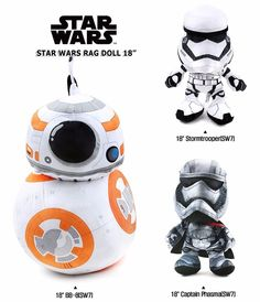 """Star Wars Character Figures Rag Doll 18""""/BB-8 Droid/Captain Phasma/Stormtrooper #CH"""