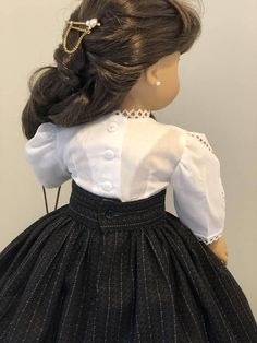 Black striped Victorian Skirt / Heirloom Blouse / and Purse fits American Girl Dolls This skirt and delicate batiste blouse a great everyday Victorian outfit. The Blouse is made with delicate white batiste fabric. Lace trims were added around the neck and lower edge of the
