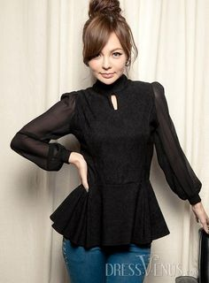 d708a9ed13 US 28.99 New Arrival Korean Style Chiffon Stand Collar Blouse.  Blouses   New