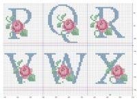 So pretty ~ cross stitch monogram alphabet with roses. Counted Cross Stitch Patterns, Cross Stitch Charts, Cross Stitch Designs, Cross Stitch Embroidery, Cross Stitch Letters, Cross Stitch Rose, Plastic Canvas Letters, Embroidery Alphabet, Le Point