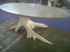 Oval Zinc Top Table with Natural White Painted Root Base All Root Bases Vary Due to Natural Variations in Trees Oval and Round Tops Can Be Custom Sized Prices Vary, Please Call for More Information