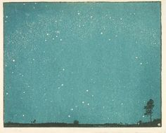 Landschaft, 1919, Erich Buchwald Zinnwald, woodcut with colours on Japanese papers, 26 x 32.5 cm., Germany.