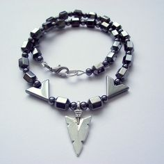 Tribal Gothic Arrowhead Necklace Hematite Unisex by Flamehaired Jewellery Designs at Folksy.com