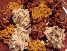 Haystacks ~ 3 Kinds! Butterscotch Peanut Butter Haystacks, White Chocolate Pretzel Haystacks, Chocolate Hay Stacks