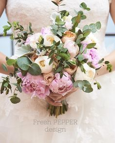 Bridal bouquet with peonies and eucalyptus