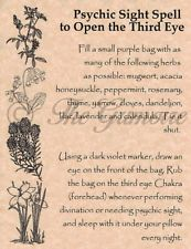 Psychic Sight Spell to Open the 3rd Eye, Book of Shadows Page