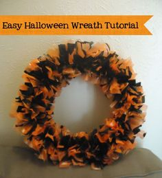 DIY Halloween wreath- Easy and inexpensive to make! Using disposable plastic tablecloths