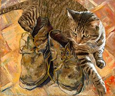 Cat Lover Gift, Cat Art, Van Gogh's Shoes,  Tabby Cat, Cat Decor, Cat Lovers, Housewarming Gift, Deborah Julian