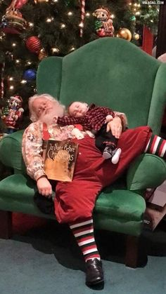 While waiting in line to see Santa, this baby fell asleep. When it came time for the picture, Santa told the parents not to wake him.