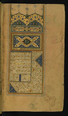 This folio from Walters manuscript is an illuminated incipit page bearing a titlepiece inscribed Lavayih in white Tawqi' script. In the outer margin is inscribed the text of the second work, Lavami'. Sufi, Illuminated Manuscript, 16th Century, Islamic Art, Art Museum, Two By Two, It Works, Miniatures, Calligraphy