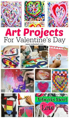 Valentines Art Projects - looking to get arty this Valentine's Day? Here are some great Process Art, new Art techniques and Great Artists Projects for kids to try out and learn about this Valentine's Day. From Pop Up, to spaghetti painting and more.