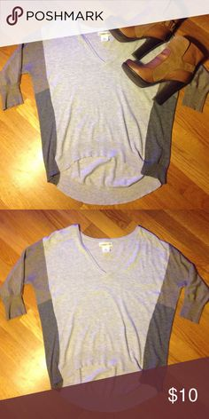 Hi-lo 3 Tone Sweater Adorable 3/4 sleeve sweater! Dark and light gray and tan. Hang Ten Sweaters V-Necks