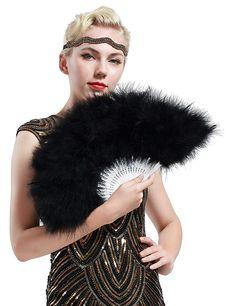 Schwarz BABEYOND Damen F/ächer Marabou Feder 1920s Vintage Stil Retro Handf/ächer Damen Gatsby Kost/üm Flapper Zubeh/ör