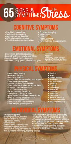 65 Common Signs & Symptoms of Stress - Cognitive, Emotional, Physical, and Behavioral #ReduceAnxietyWithoutDrugs