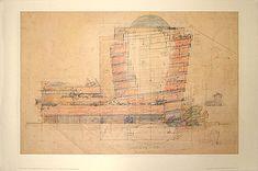 Frank Lloyd Wright drawing of the Guggenheim.    franklloydwright.org