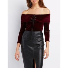 Charlotte Russe Velvet Off-The-Shoulder Lace-Up Top ($22) ❤ liked on Polyvore featuring tops, blouses, burgundy, off shoulder tops, embellished tops, burgundy velvet top, velvet blouse and off shoulder blouse