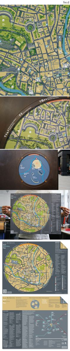 Beautiful map design to complement the Bath City brand and promote the city's hidden treasures by fwdesign. www.fwdesign.com