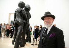 Georg Baselitz, exhibition opening, artist Markus Lüpertz, September 18, 2014, photo Marion Vogel