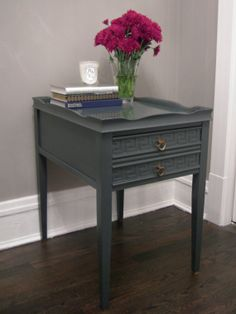 Antique Painted Side Table Charcoal Grey by chrissyjackson324, $250.00