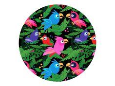 """Fabric Pattern Pink Jungle Birds"" by Pia Kolle on Behance"