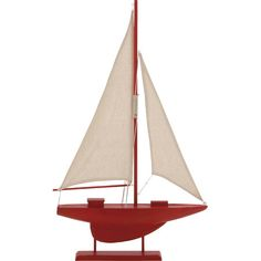 Lend a nautical touch to your living room or parlor with this model sailboat, showcasing a warm red finish.  Product: Decor...