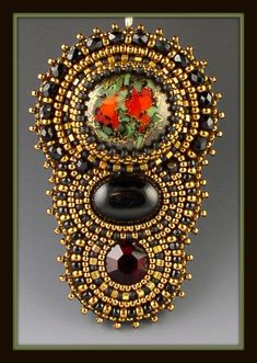 Red Roses in the Garden Bead Embroidered, Beaded, Beadwork Necklace.