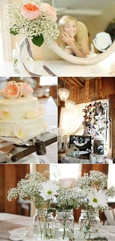 babies breath centerpieces, a different look with low center pieces, could use mason jars to carry a theme.