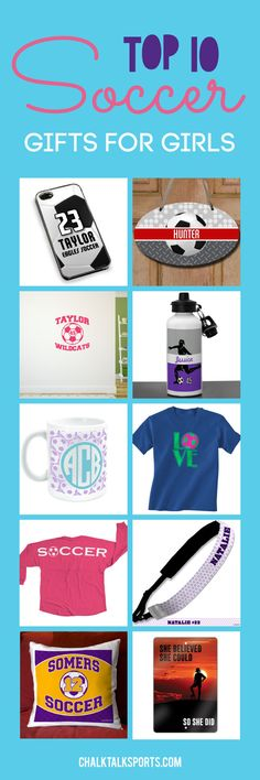Start thinking about end of season gifts with our top 10 soccer gifts for girls! Personalize our products to create a special gift for your favorite soccer player. We offer tees, room decor, mugs, phone cases and more that soccer girls will love! Only from ChalkTalkSPORTS.com!