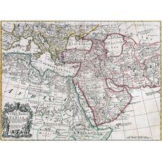 Trademark Art 'Map of Turkey, Arabia and Persia' Canvas Art, Size: 35 x 47, Multicolor