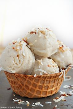 The ultimate two ingredients ice cream made with only roasted bananas and coconut milk!! Indulge in this guilt-free ice-cream all summer long!