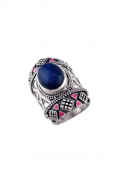 Silver Enameled Lapis Ring