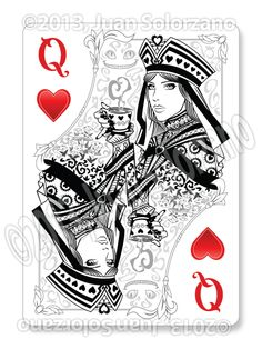 The Queen of Hearts Playing Card | sketch2draw.com
