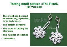"Original Tatting Pattern earrings ""The Pearl"". PDF Tatting pattern, Tutorial photo in PDF, Flower by TattingPatternDesign on Etsy"