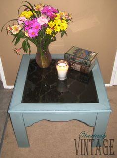 Vivaciously Vintage: Elegant Etched Glass Table - DIY instructions