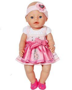 2 ピース/セット 1 ドレス + 1 ヘア バンド かわいい ピンク ドレス用43 センチ新しい baby born ツァップ人形服