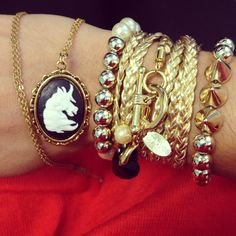 Glam-O necklace cameo & some beautiful gold bracelets ... Créations Glam-O on facebook