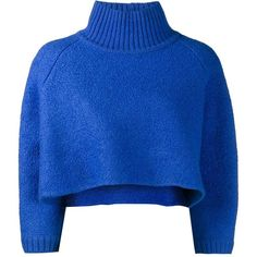 Vika Gazinskaya cropped jumper ($1,266) ❤ liked on Polyvore featuring tops, sweaters, blue, cropped jumper, 3/4 sleeve tops, blue sweater, blue top and 3/4 sleeve sweaters