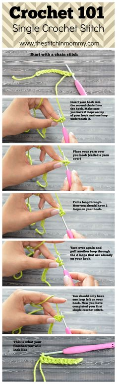 Crochet 101 - Single Crochet Stitch A step by step photo tutorial explaining how to do the single crochet stitch. Post number two of my Crochet 101 series. Crochet Cluster Stitch, Stitch Crochet, Bag Crochet, Crochet Motifs, Single Crochet Stitch, Crochet Basics, Knit Or Crochet, Learn To Crochet, Chain Stitch