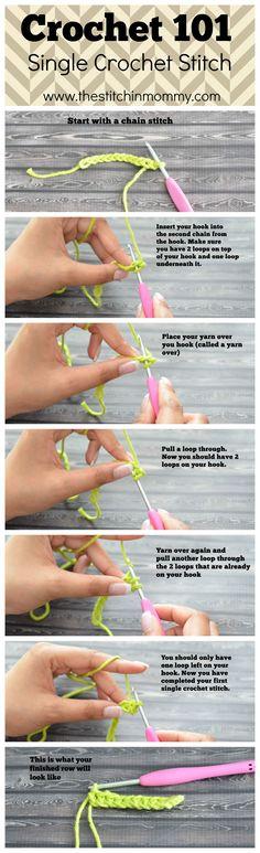 Crochet 101 - Single Crochet Stitch Tutorial {www.thestitchinmommy.com}